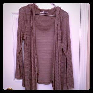 Maurices beige long sleeve hooded cardigan.
